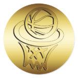 GOLDEN BASKETBALL HOOP CLASSIC ROUND STICKER