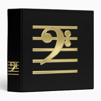 Golden bass clef 3 ring binders