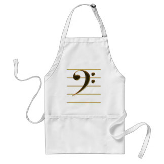 Golden Bass Clef Music Note Adult Apron