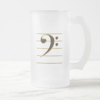 Golden Bass Clef Music Note Frosted Glass Beer Mug