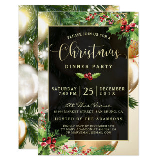 Golden Baubles | Christmas Party Invitation