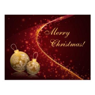 Golden Baubles Christmas Postcard