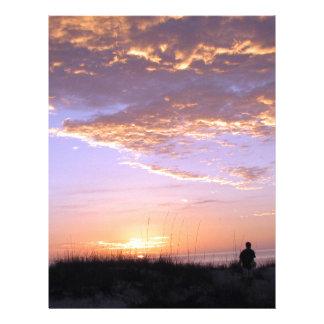 Golden Beach Clouds Sunset Letterhead