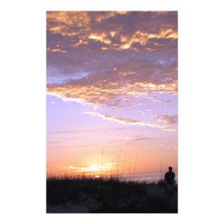 Golden Beach Clouds Sunset Stationery