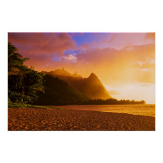 Golden beach sunset, Hawaii Poster
