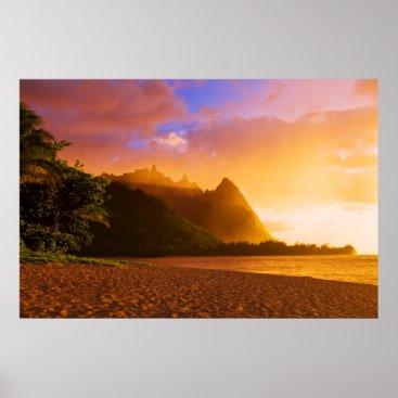 Beach Themed Golden beach sunset, Hawaii Poster