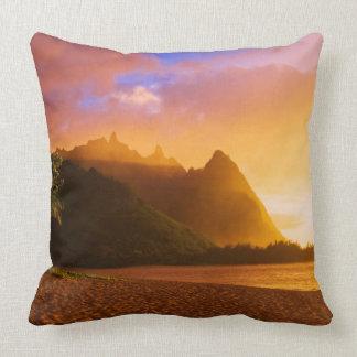 Golden beach sunset, Hawaii Throw Pillow