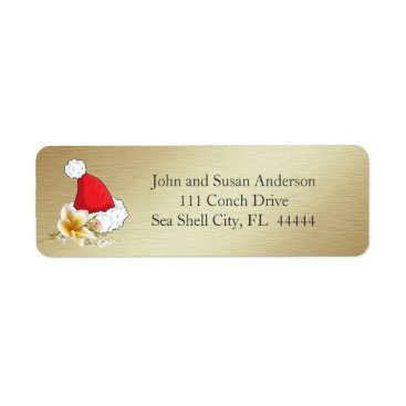 Golden Beach Tropical  Merry Christmas Address Label