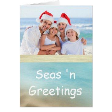 Beach Themed Golden Beaches Tropical Photo Christmas Card