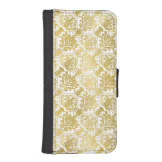 Golden beautiful baroque stylish elegant pattern wallet phone case for iPhone SE/5/5s