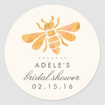 Golden Bee Watercolor Bridal Shower Classic Round Sticker