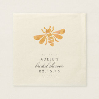 Golden Bee Watercolor Bridal Shower Napkin