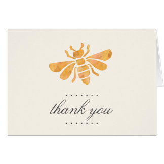 Golden Bee Watercolor Thank You Card
