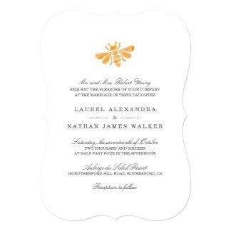 Golden Bee Watercolor Wedding Card