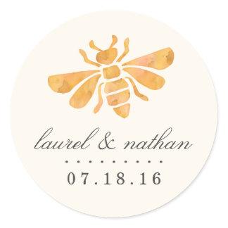 Golden Bee Watercolor Wedding Classic Round Sticker
