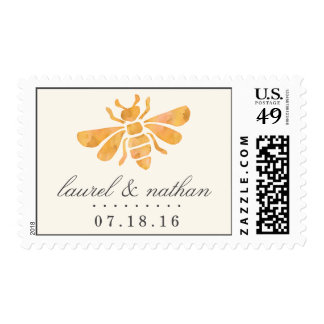 Golden Bee Watercolor Wedding Postage