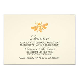 Golden Bee Watercolor Wedding Reception Card