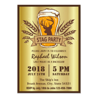 Golden Beer Barley Stag Party/Bachelor Party Card