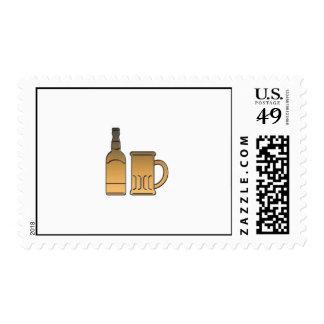 golden beer bottle mug isolated metallic postage stamps