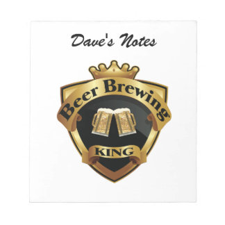 Golden Beer Brewing King Crown Crest Notepad