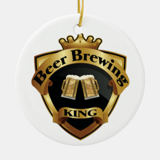 Golden Beer Brewing King Crown Crest Christmas Tree Ornament