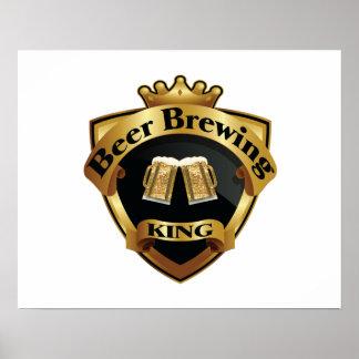 Golden Beer Brewing King Crown Crest Poster