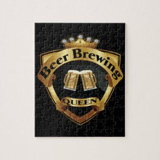 Golden Beer Brewing Queen Crown Crest Jigsaw Puzzle