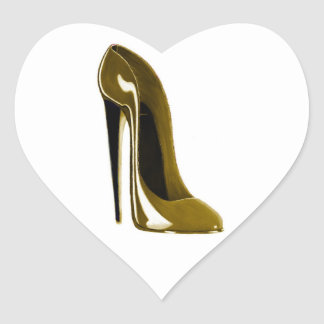 Golden Beige Stiletto Shoe Heart Sticker
