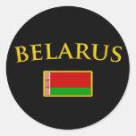 Golden Belarus Round Stickers