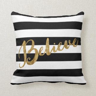 Golden Believe Stripes Throw Pillow