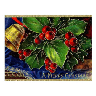 Golden Bell & Holly Sprig Christmas Postcard