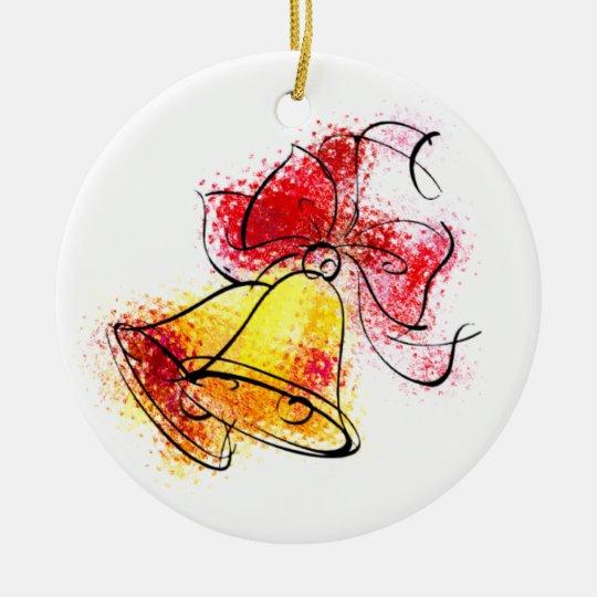 Golden Bells Ceramic Ornament