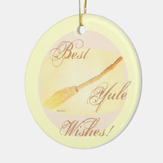Golden Besom Pagan Yule Witch Wicca Ceramic Ornament