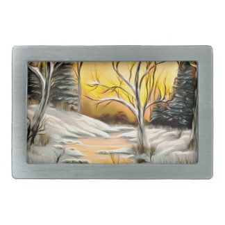Golden Birch Winter Mirage Belt Buckle