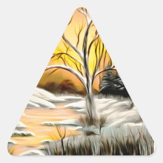 Golden Birch Winter Mirage Triangle Sticker