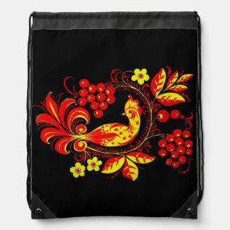 Golden Bird Drawstring Backpack