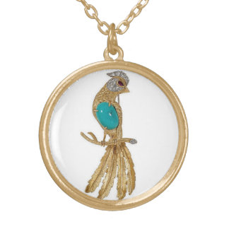 Golden bird of paradise gold plated necklace