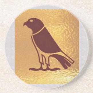 Golden BIRD of PREY Eagle Hawk Owl Graphic Art Coaster