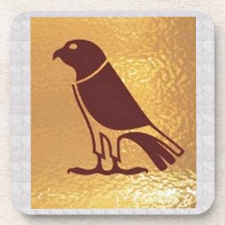 Golden BIRD of PREY Eagle Hawk Owl Graphic Art Coasters
