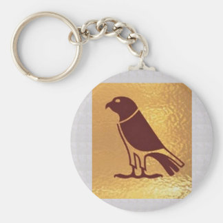 Golden BIRD of PREY Eagle Hawk Owl Graphic Art Keychain