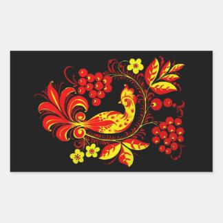 Golden Bird Rectangle Sticker