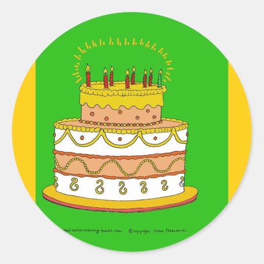 Golden Birthday Cake Classic Round Sticker