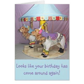Golden Birthday Carousel Card