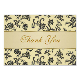 Golden black damask flowers Wedding  Thank You Card