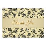 Golden black damask flowers Wedding  Thank You 3.5x5 Paper Invitation Card