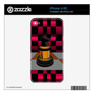 Golden Black Dragon Knight Chess Design 3D Decal For iPhone 4