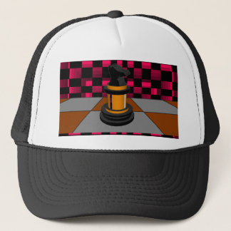 Golden Black Dragon Knight Chess Design 3D Trucker Hat