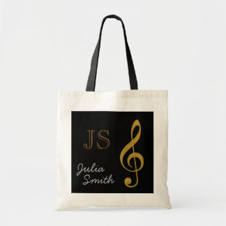golden black music g-clef note personalized tote bag