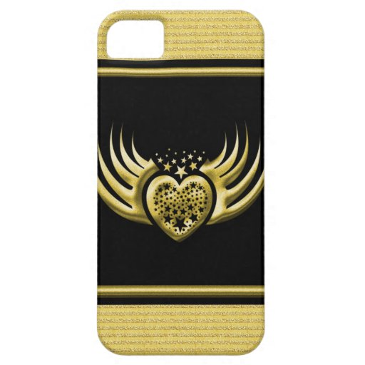 Golden Black Winged Heart iPhone 5 Cases