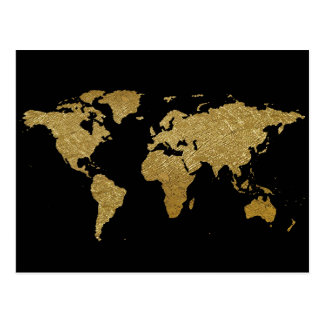 golden black world map postcard